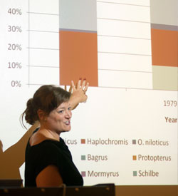 An instructor lecturing and pointing at a graph in a slideshow
