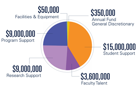 Pie chart divided by focus area: $15,000,000 in student support, $9,000,000 in program support, $9,000,000 in research support, $3,600,000 for faculty talent, $350,000 for the annual fund (general discretionary), and $50,000 for facilities & equipment