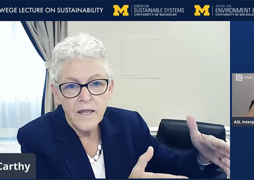 Wege Lecture Speaker Gina McCarthy: Put Climate Change in 'Human Terms'