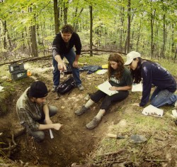 Professor Don Zak working with students at Stitchfield Woods